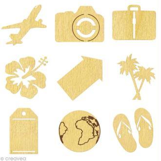 Set de mini silhouettes en bois Voyage x 27