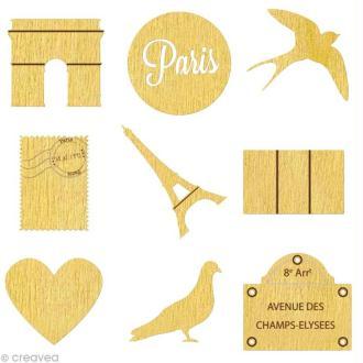 Set de mini silhouettes en bois Paris x 27