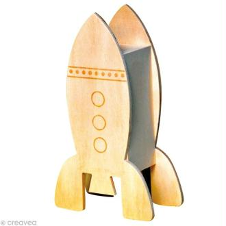 Tirelire Fusée en bois 21 cm