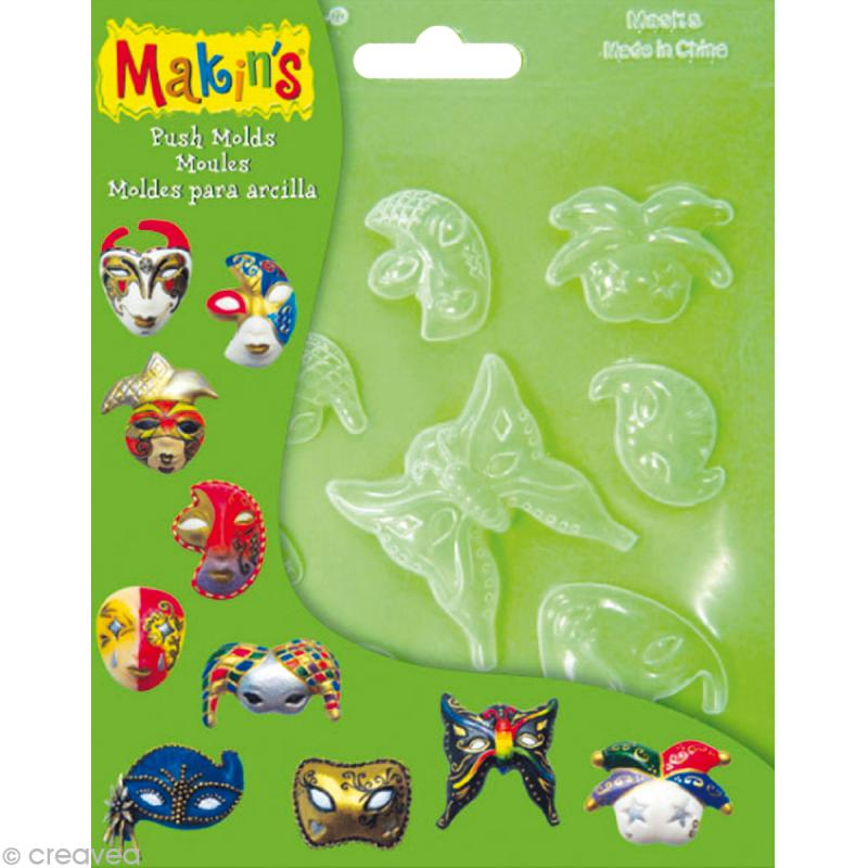 Moules souples push mold Masques - 10 pcs - Photo n°1