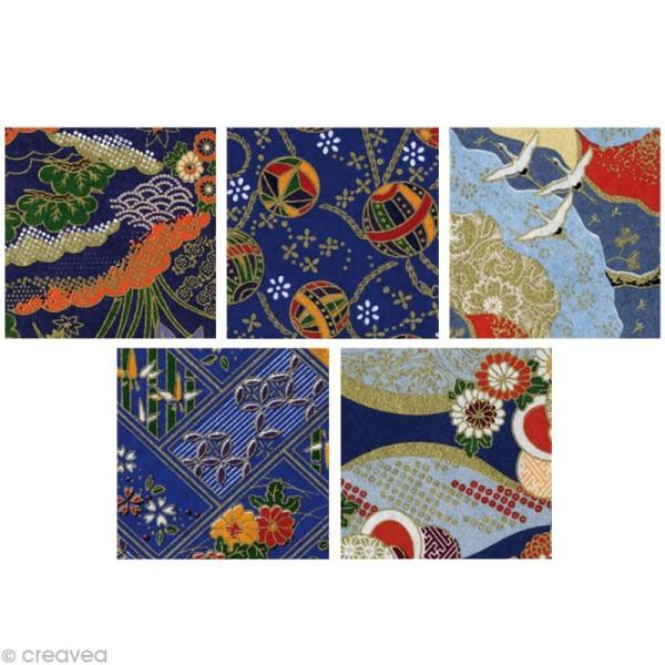 Papier japonais Yuzen Bleu - Set de 10 feuilles 15 x 15 cm - Photo n°2