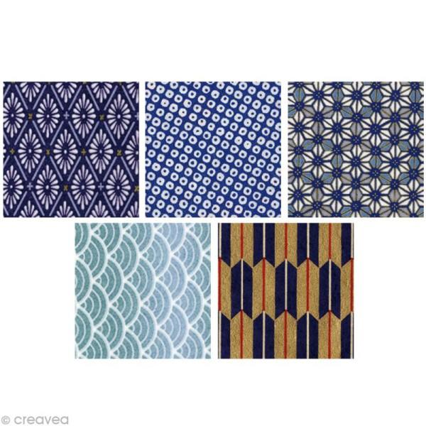 Papier japonais Yuzen Bleu - Set de 10 feuilles 15 x 15 cm - Photo n°3