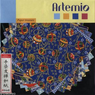 Papier japonais Yuzen Bleu - Set de 10 feuilles 15 x 15 cm