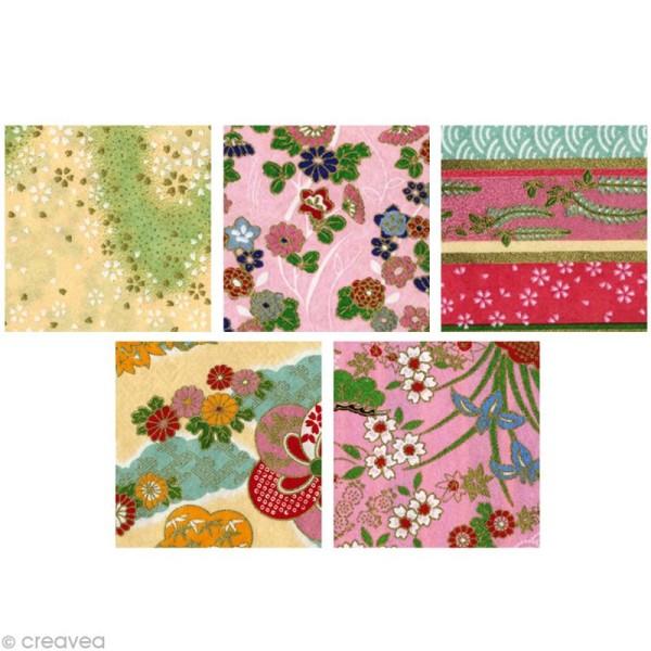 Papier japonais Yuzen Pastel - Set de 10 feuilles 15 x 15 cm - Photo n°2