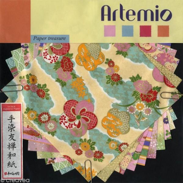 Papier japonais Yuzen Pastel - Set de 10 feuilles 15 x 15 cm - Photo n°1