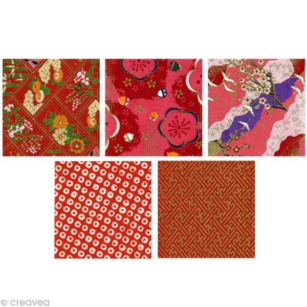 Papier japonais Yuzen Rouge - Set de 10 feuilles 15 x 15 cm - Photo n°2