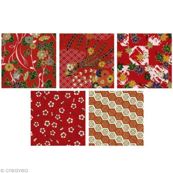 Papier japonais Yuzen Rouge - Set de 10 feuilles 15 x 15 cm - Photo n°3