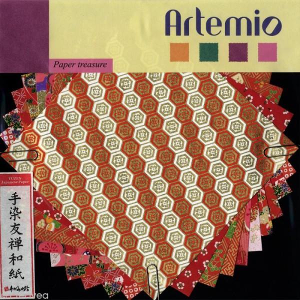 Papier japonais Yuzen Rouge - Set de 10 feuilles 15 x 15 cm - Photo n°1
