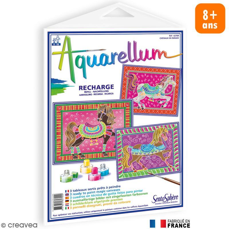 Recharge tableau peindre aquarellum chevaux en parade x - Tableau en bois enfant ...