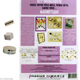 Kit pêle-mêle magnétique et aimants - plaque 30 x 40 cm