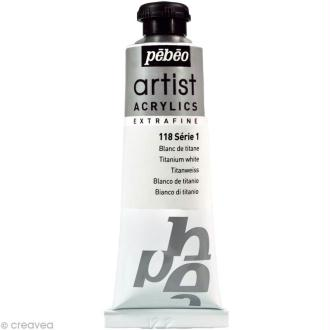 Peinture Artist Acrylics - Blanc Titane 37 ml - Extra fine