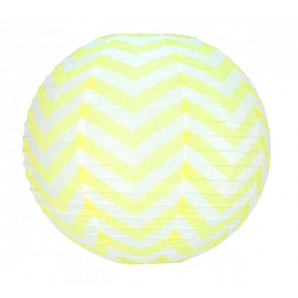 Lanterne japonaise Zigzag Jaune pastel et Blanc de 35 cm, Boule chinoise Chevron en papier à suspend - Photo n°1