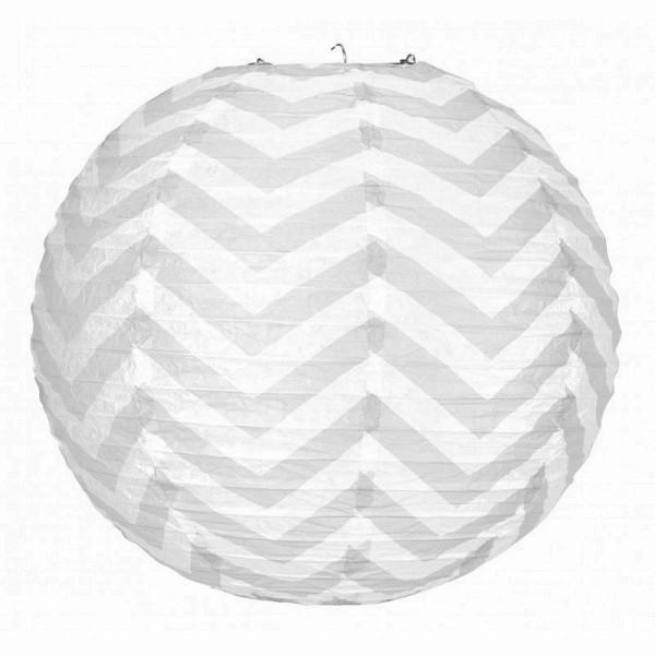 Lanterne japonaise Zigzag Gris et Blanc de 35 cm, Boule chinoise Chevron en papier à suspendre - Photo n°1