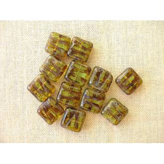 1 Perle carrée en verre vert kaki 10mm