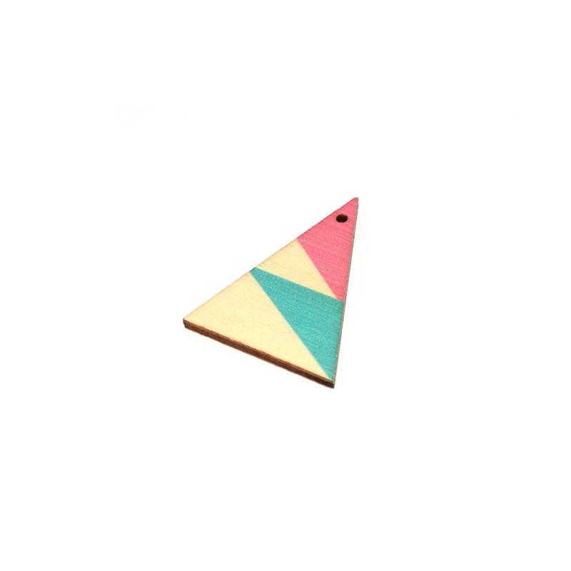triangle en bois 39x29 mm bleu rose et naturel. Black Bedroom Furniture Sets. Home Design Ideas