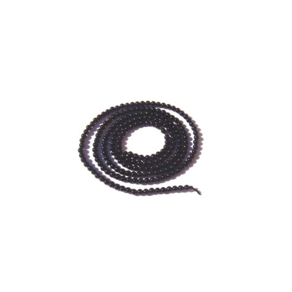 Onyx noir : 20 MICRO perles 2 MM de diamètre - Photo n°1