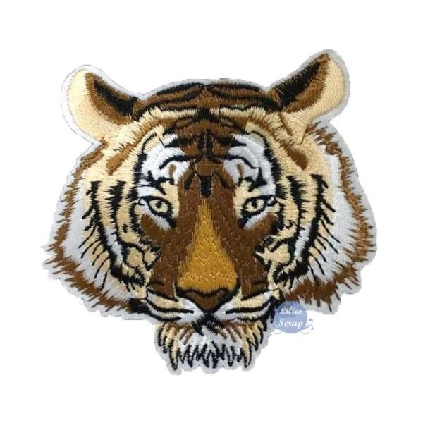 8 X 6 CMS écusson ECUSSON PATCH THERMOCOLLANT TETE DE TIGRE TIGER BLANC DIM