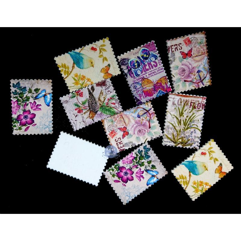 8 boutons timbres vintage en bois fleurs oiseaux 4 cm for Timbre de cuisine