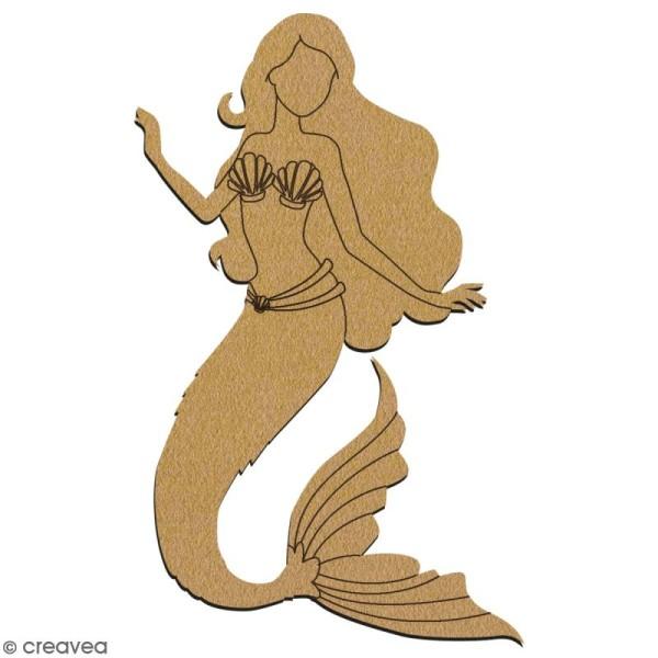 Sirène en bois à décorer - 15 cm - Collection Sirène - Photo n°2