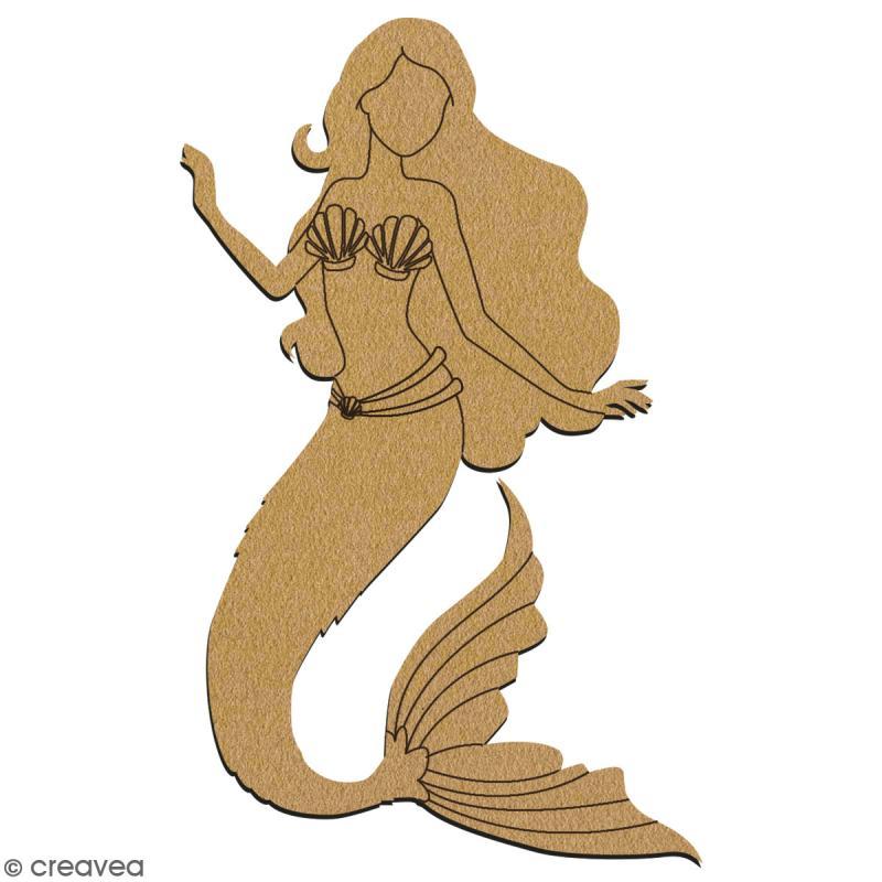 Sirène en bois à décorer - 28 cm - Collection Sirène - Photo n°2