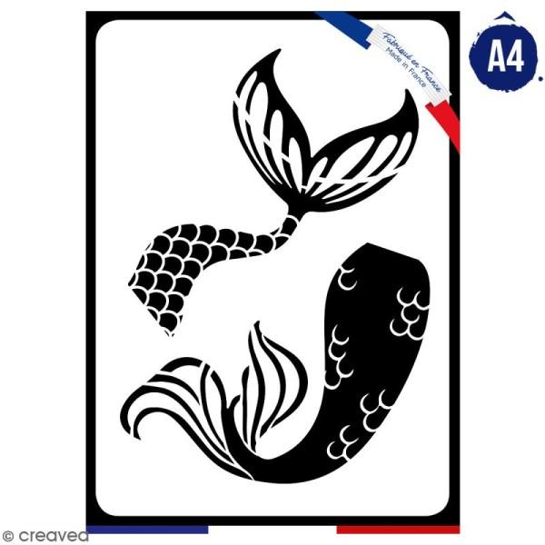 Pochoir multiusage A4 - Queues de sirène - 1 planche - Collection Sirène - Photo n°1