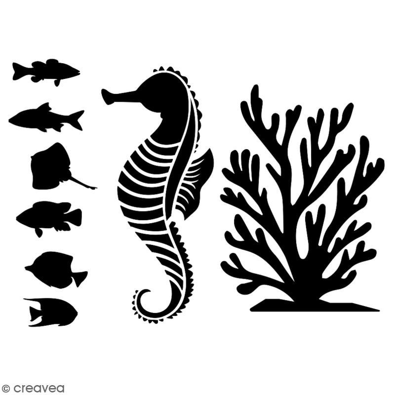 Pochoir multiusage A5 - Hippocampe - 1 planche - Collection Sirène - Photo n°2