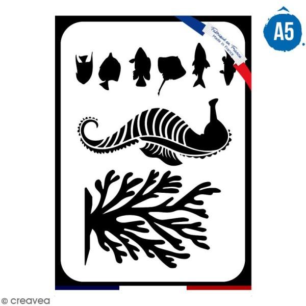 Pochoir multiusage A5 - Hippocampe - 1 planche - Collection Sirène - Photo n°1