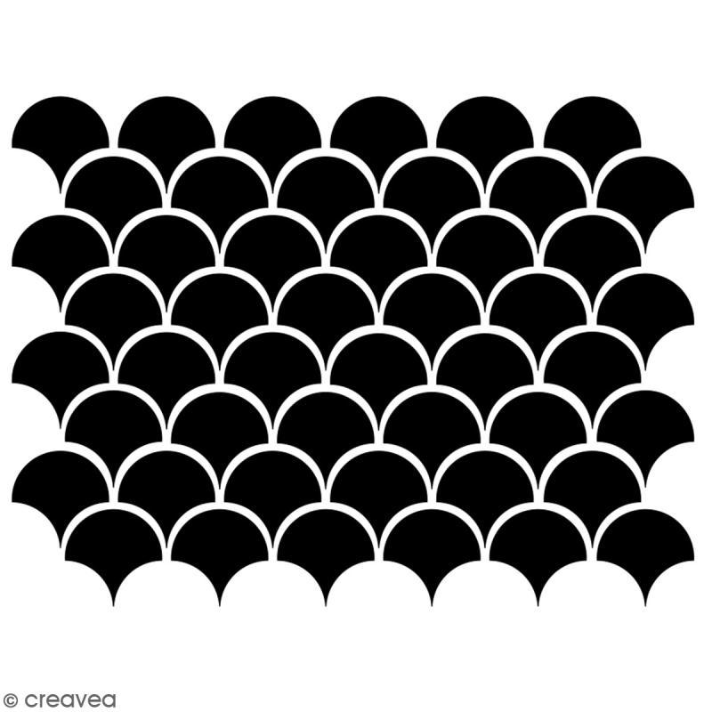 Pochoir multiusage A5 - Motif écailles - 1 planche - Collection Sirène - Photo n°2