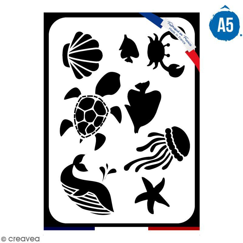 Pochoir multiusage A5 - Animaux de la mer - 1 planche - Collection Sirène - Photo n°1