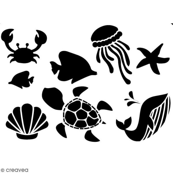 Pochoir multiusage A5 - Animaux de la mer - 1 planche - Collection Sirène - Photo n°2