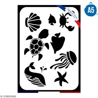 Pochoir multiusage A5 - Animaux de la mer - 1 planche - Collection Sirène