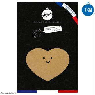 Coeur avec visage en bois à décorer - 7 cm - Collection Licorne