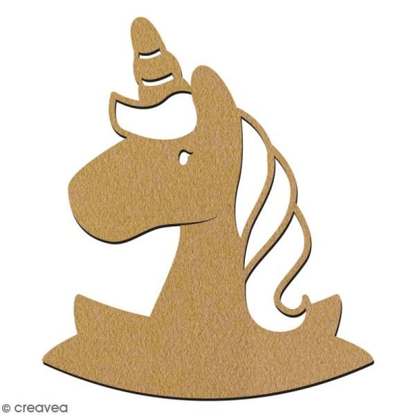 Tête de Licorne en bois à décorer - 15 cm - Collection Licorne - Photo n°2
