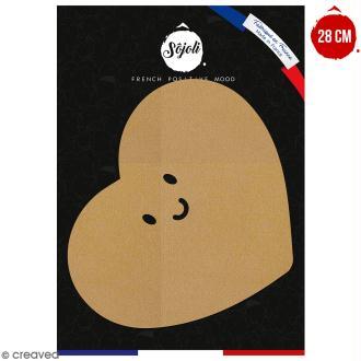 Coeur avec visage en bois à décorer - 28 cm - Collection Licorne