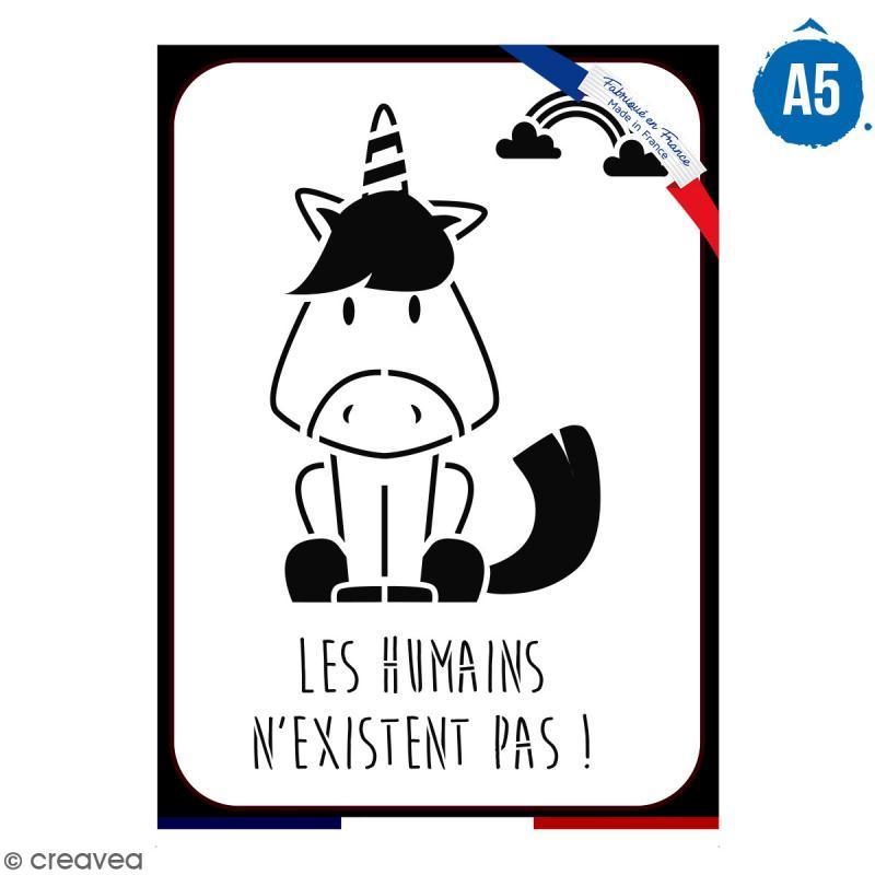 Pochoir multiusage A5 - Les humains n'existent pas - 1 planche - Collection Licorne - Photo n°1