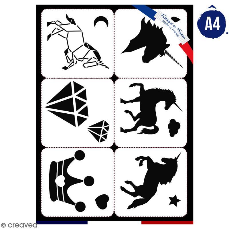 Planche de pochoirs multiusage A4 - Collection Licorne - Licorne - 6 Motifs - Photo n°1