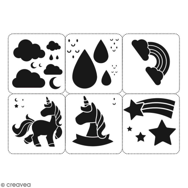 Planche de pochoirs multiusage A4 - Collection Licorne - Licorne Kawaii - 6 Motifs - Photo n°2