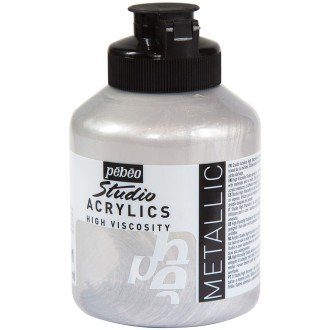 Peinture acrylique Pébéo Studio - Argent Iridescent 500 ml