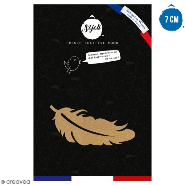 Plume en bois à décorer - 7 cm - Collection Champêtre - Photo n°1