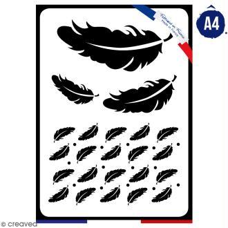 Pochoir multiusage A4 - Plumes - 1 planche - Collection Champêtre