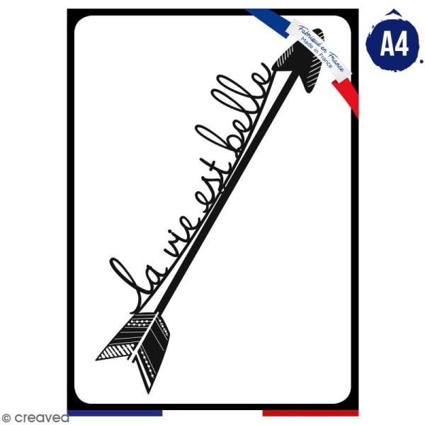 Pochoir multiusage A4 - La vie est belle - 1 planche - Collection Champêtre - Photo n°1