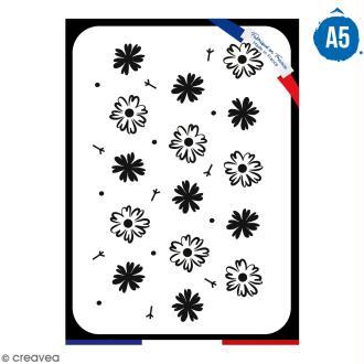 Pochoir multiusage A5 - Motif fleurs - 1 planche - Collection Champêtre