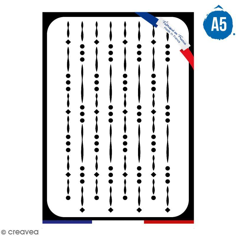 Pochoir multiusage A5 - Motif perles - 1 planche - Collection Champêtre - Photo n°1