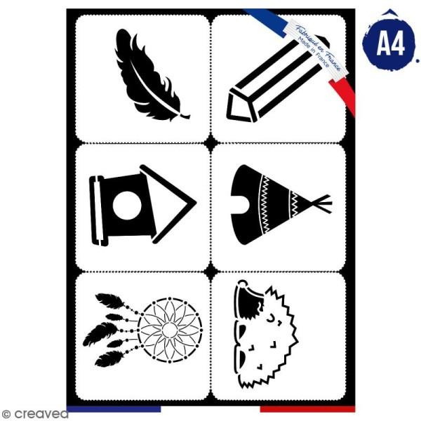 Planche de pochoirs multiusage A4 - Tipi, plume, cabane - 6 Motifs - Collection Champêtre - Photo n°1