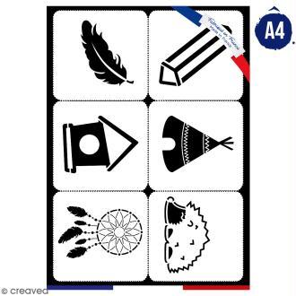 Planche de pochoirs multiusage A4 - Tipi, plume, cabane - 6 Motifs - Collection Champêtre