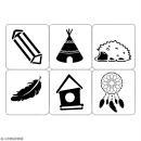 Planche de pochoirs multiusage A4 - Tipi, plume, cabane - 6 Motifs - Collection Champêtre - Photo n°2