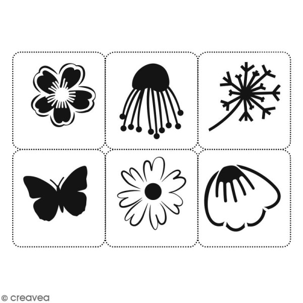 Planche de pochoirs multiusage A4 - Fleurs, papillon - 6 Motifs - Collection Champêtre - Photo n°2