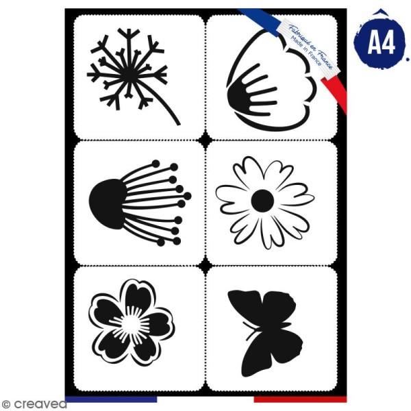 Planche de pochoirs multiusage A4 - Fleurs, papillon - 6 Motifs - Collection Champêtre - Photo n°1