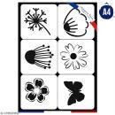 Planche de pochoirs multiusage A4 - Fleurs, papillon - 6 Motifs - Collection Champêtre