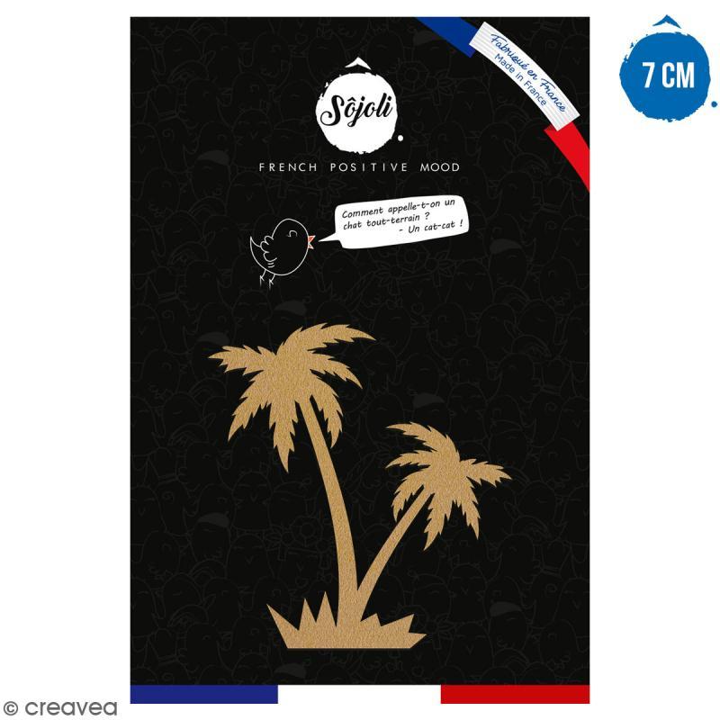 Double palmier en bois à décorer - 7 cm - Collection Summer - Photo n°1